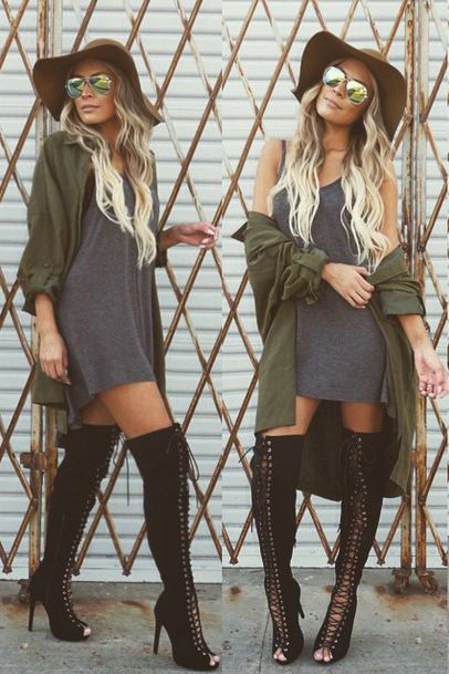 perfect green knee high boots outfits