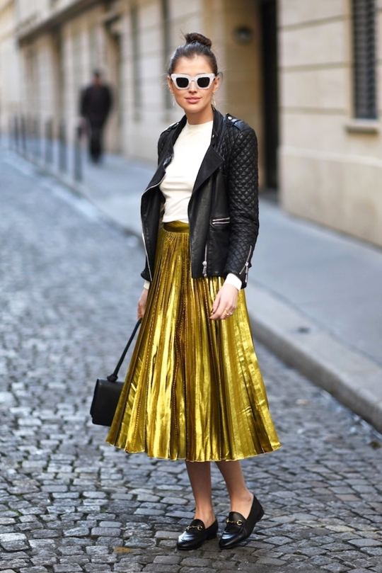 Bloglovin+Blog+Retro+Cat+Eye+Sunglasses+Quilted+Sleeve+Leather+Jacket+Off+White+Sweater+Metallic+Gucci+Gold+Pleated+Skirt+Handbag+Loafers+Blogger+Style+Via+Darja+Barannik