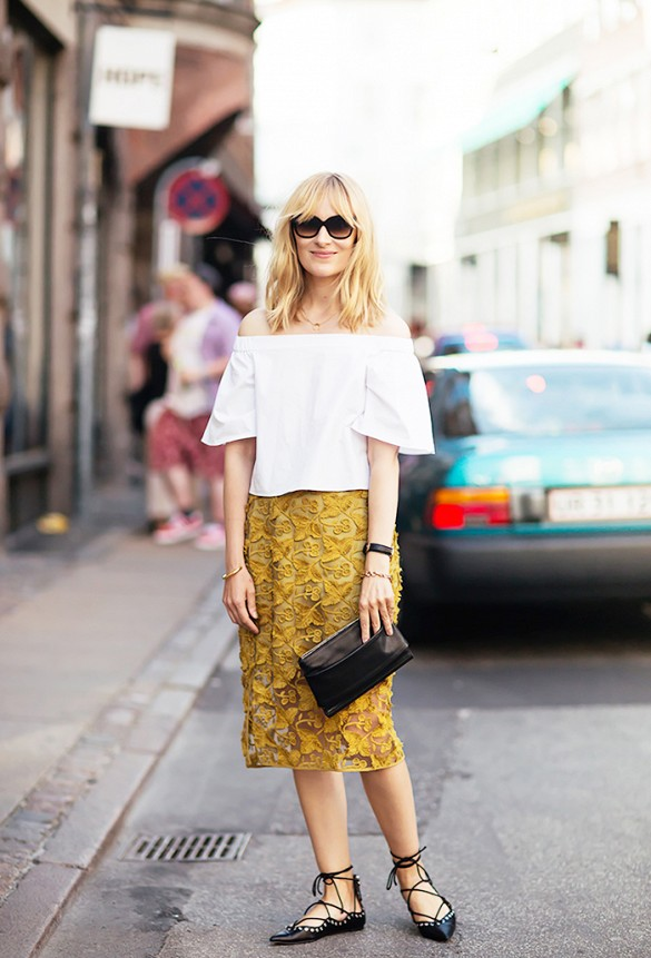off-the-shoulder-top-tetxured-skirt-mustard-lace-up-flats-summer-to-fall-via-stockholm-street-style